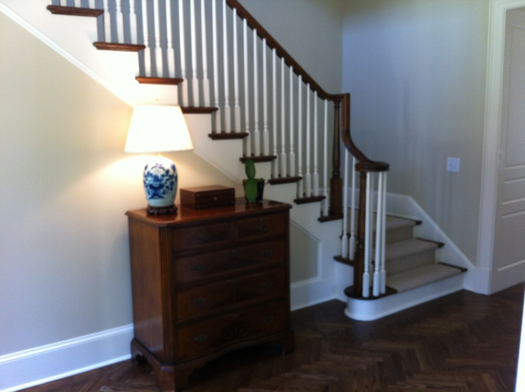 Selecting stain color of stair handrail